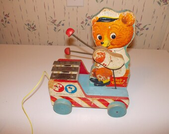 vintage fisher price Tiny Teddy pull toy