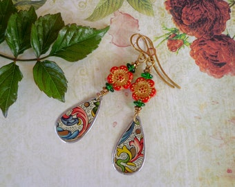 Soldered Tin Earrings, Tin, Earrings, Soldered, Vintage Tin, Tin jewelry, Floral tin, Beaded, Flowers, Red, Recycled tin, Reclaimed tin