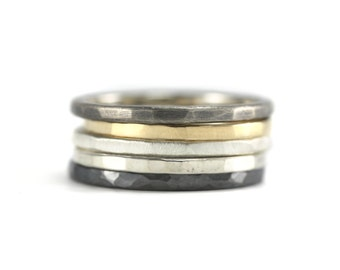 Stacking Set - 5 stacking rings, 5 rings, ring set, set of stack rings, mixed metals, stack set, simple stacking, gold and silver