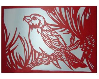 Paper Cutting Art - Winter Bird In Pine Tree