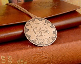 Steampunk brooch, steampunk badge, Cephalopod Wrangler, steampunk jewellery, achievement badge, octopus jewellery, squid jewellery