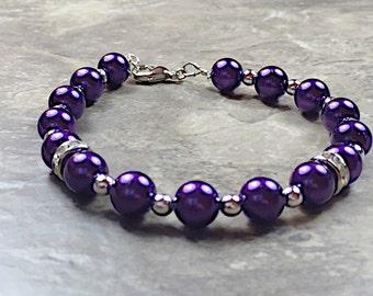 Purple Pearl Bracelet, Dark Purple Pearl Bracelet, Deep Purple Wedding Bracelet, Purple Jewellery, Purple Accessories