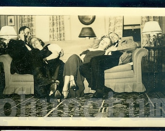 Afterglow: Middle Aged Swingers Party Post Coital Bliss Vintage Photo