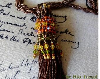 Beading Tutorial, The Rio Tassel Pendant,  Bead weaving Pendant. Instant Download.