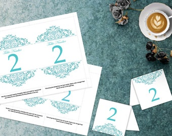 Aqua Baptism or Wedding Table Numbers, 4x6 and 5x7 DIY Table Numbers, Wedding Template, Elegant Wedding, Tented Table Number, Plum, Eggplant