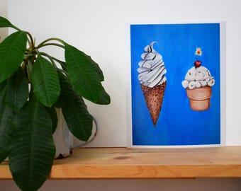Print Of Original Art, Ice Cream Painting
