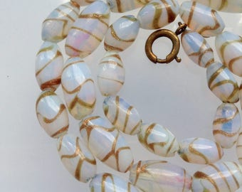 Opalescent Gold Glass Bead Necklace