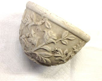 "Classic Floral Embossed Distressed Gray Small -  Medium Plant Pot Container Jardinere Cachepot (6x4.5"")"