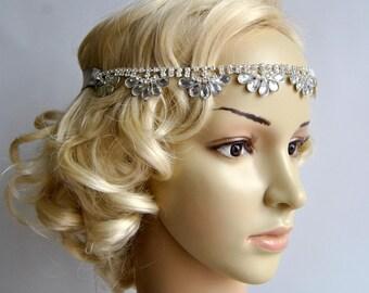 Luxury Crystal  Rhinestone Tie on Headband headpiece, Prom  Wedding flapper 1920s great gatsby ribbon headband, Bridal rhinestone head piece