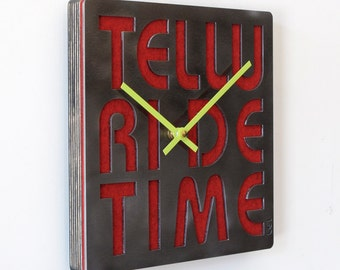 Telluride Time Stainless Steel & Felt Industrial Wall Art Clock