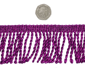 Purple Twisted 50mm Metallic Bullion Fringe Trimming Sold by the Metre