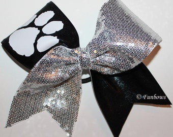 Super Glitzy Pawprint Cheerleading bow by Funbows