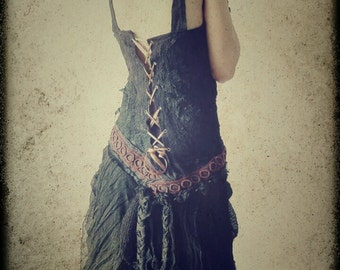 Black Orchid Dress, Ruffled, Tattered, Dark Mori, Bohemian,Victorian Corset dress