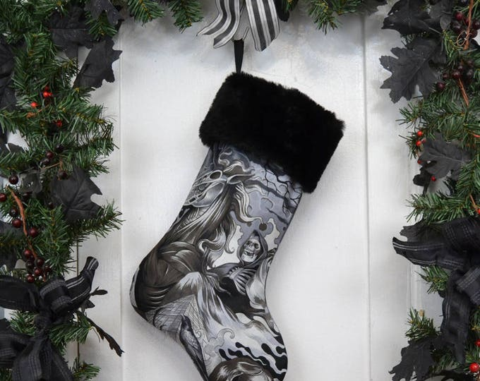 Grim Reaper Halloween Christmas Stocking, Black and White, Black Faux Fur, Heart of Darkness