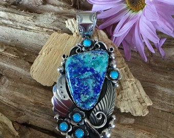 Bluebird Mine Azurite Malachite Huge pendant/Artisan Handmade/ Sterling Silver/ With Sleeping Beauty Turquoise Wildflowers