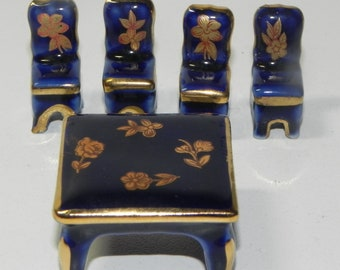 Vintage Limoges Miniature Table and Four Chairs Blue Gold