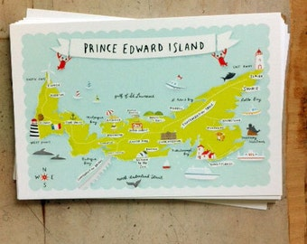 "Set of 5 4""x6"" PEI map Postcards"