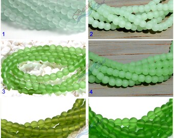 "Sea Glass 6mm Round Green 35pcs Round Cultured Sea Glass~Jewelry Making Supply~ Beach Glass Beads  8"""