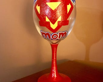 Hand painted SuperMom wine glass