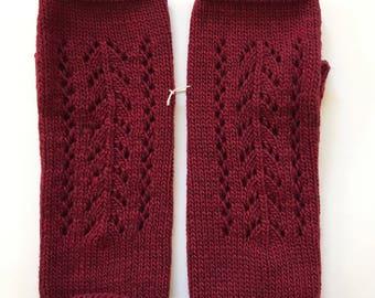 Fingerless Mittens Hand Warmers Wool Fine Gauge in Pointelle Stitch in Cranberry Red
