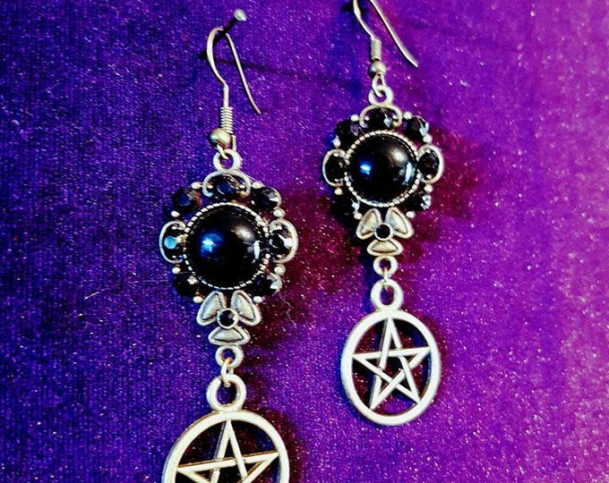 Pentagram earrings with onyx - pentagram witch wicca onyx rhinestones gothic goth  tradgoth occult