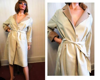 Vintage Full Wrap Coat, Ecru Beige with Tan Contrasting Collar and Cuffs, Tie Belt, Lined Lightweight Spring Coat