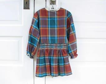 Vintage Girl Dress, Vintage Girl Plaid Dress, Red Plaid Dress, Long Sleeve Girl Dress, Cinderella Dress, 4T Dress, 6T dress, Smocked Dress