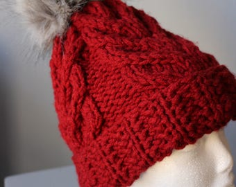 Cross Braid Knitted Berry Red Hat
