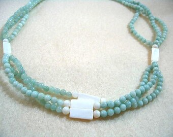 Seafoam Green Gemstone Necklace, Multi Strand Natural Amazonite Stone Bead and White Shell Bead Necklace, Handmade Green Beach Jewelry