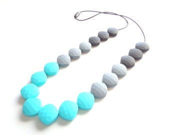 Silicone Teething Necklace - Turquoise Teething Necklace - Teething Necklace - Nursing Necklace - Silicone Jewelry - Baby Shower Gift