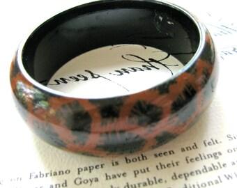Bangle bracelet, painted wood bracelet, Leopardskin design, 1 inch wide