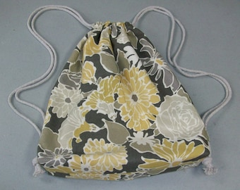 String Backpack - Yellow/Gray/White Floral