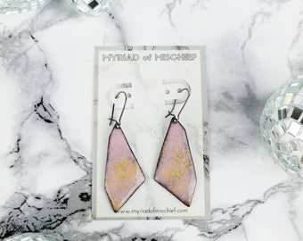 Rose Quartz Pink Enamelled Geo Dangle Earrings with Gold Flecks