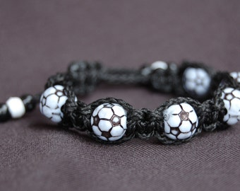 Black Bracelet with Soccer Beads  - More cord colors and sports theme options available