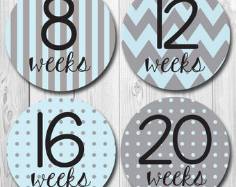 blue and gray maternity stickers, pregnancy stickers, belly bump, baby bump, mom to be, weekly pregnancy photo stickers