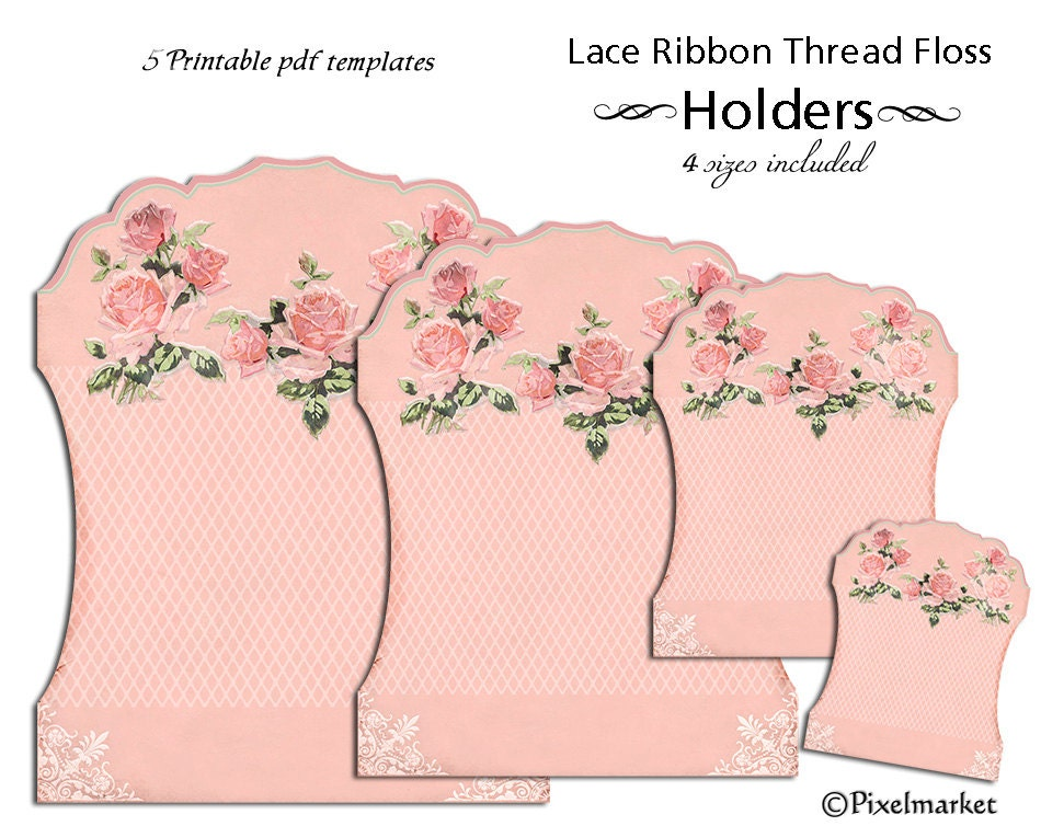 Printable Lace Ribbon HOLDERS Clipart Keeper Template