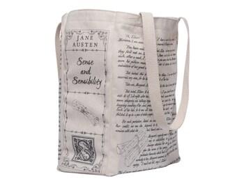 Sense and Sensibility Book Tote - Jane Austen, Tote Bag, Literary, Book Lover, Books, Literature, Teacher Gift, Gift for Reader