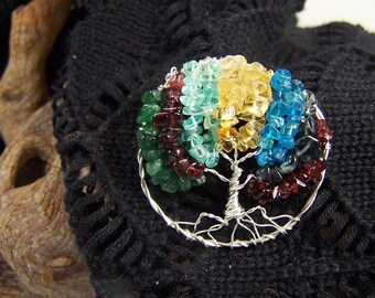 Family Tree brooch pin with Birthstones jewelry - Custom Personalized Gift for Mother in law Grandmother grandma - sterling silver gemstones