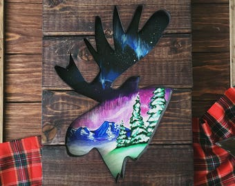 Wood art, moose art, wood wall art, gift for him, home decor, wall hanging, acrylic painting, Northern Lights, Landscape painting, pine tree