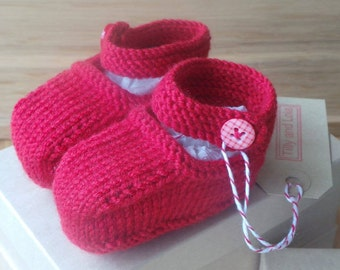 Hand knitted scarlet Mary-Jane baby shoes - 0-3, 3-6 and 6-9 months