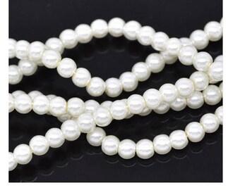 Set of 50 beautiful glass beads Pearl White shiny 6 mm