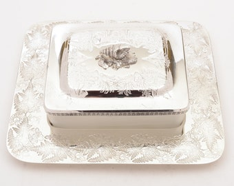 Victorian Silver Plated and Glass Butter Dish, Circa 1890