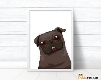 Black Pug Print - Cute pug wall art, Pug birthday gift for boyfriend, Pug poster girlfriend gift, cute pug birthday gift, pug love pug gift