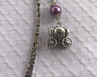 Carriage Bookmark, Princess Carriage Bookmark, Silver Carriage Bookmark, Pink Carriage Bookmark, Fairy Tale Jewelry, Bookmark