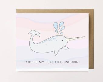 Narwhal Card, Cute Anniversary Card, Cute Narwhal Card, I love you card, Valentine's day card, Pretty narwhal love card, Real Unicorn card