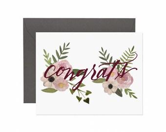 "Watercolor Floral ""Congrats"" Card  | Congrats Card | Greeting Card | Flower Card | Congratulations Greeting Card"