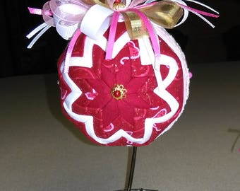 Valentines Day decoration - ornament - No Sew Quilted