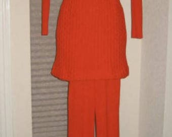60s Pantsuit - Mini Dress Knit Orange Petite XS Teen
