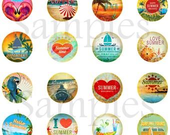 "1"" Vintage Beach Flatback, Pins or Magnets 12 Ct."