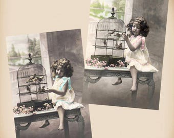 Girl With A Bird Cage 2 New 4x6 Vintage Postcard Image Photo Prints CE54 CE89
